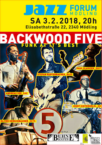 """Backwood Five"", 3.2.'18, 20 Uhr im Jazzforum Mödling"